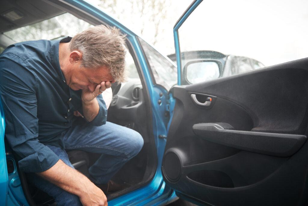 Man stressed after car crash